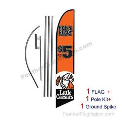 Little Caesars 5 Pizza Hot Feather Banner Swooper Flag Kit With Pole+spike