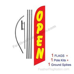 Open Red And Yellow 15' Feather Banner Swooper Flag Kit With Pole+spike