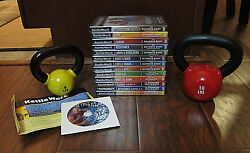 Lot Of 13 Kettleworx Dvd's With 10 Lb And 5lb Kettlebells – New