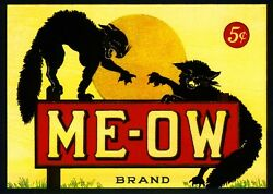 Meow Me Ow Black Cat Cats Halloween Crate Box Label Art Print Poster