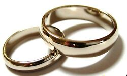 Genuine 2 Rings X Custom Made Solid 18ct 750 White Gold Wedding Bands Rings