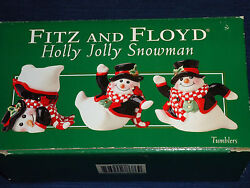Fitz And Floyd Holly Jolly Snowman Christmas Figurines Boxed Set Of 3 Ceramic