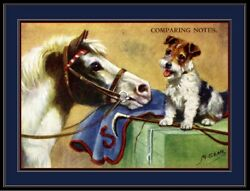 Print Pony Horse Wire Fox Terrier Puppy Dog Dogs Vintage Art Poster Picture