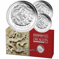Australia 2012 Year Dragon Lunar 3-coin 1 Pure Silver Proof Set In Full Ogp