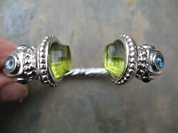14 Kt White Gold And Faceted Peridot And Blue Topaz Gemstone Cuff Bangle Bracelet