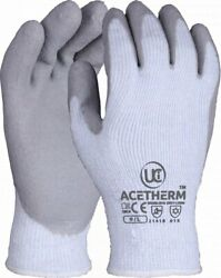 10 X Uci Acetherm Premium Winter Warm Lined Latex Palm Thermal Grip Gloves Grey