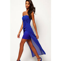 Cute Strapless Draped Top Sheet Midi Dress Party Blue $23.99