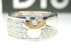 5 Or 6 0.87ct Auth Disney Mickey Mouse Cz Sterling Platinum 8mm Wide Band Ring