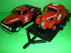 1951 Ford Pickup W/trailer And 1940 Ford Coupe Race Car Rules Texaco Ertl 125