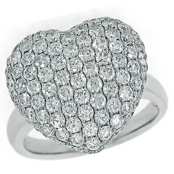 2.32ctw Pave Set Round Diamond Heart Ring In 14k White Gold. Valentines Day Ring