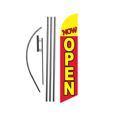 Now Open Red/yellow 15' Feather Banner Swooper Flag Kit With Pole+spike