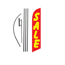 Sale Red/yellow 15' Feather Banner Swooper Flag Kit With Pole+spike