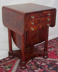19th C Federal Mahogany Antique Drop Leaf Nightstand / Work Table Issac Vose