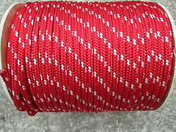 3/8 X 150' Halyard Line,jibsheets,16 Strand Boat,anchor Line,red/white Usa,