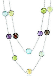 14k White Gold Multi-color Necklace With 8mm Round Shaped Gemstones 30 Inches
