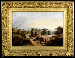 Exquisite Antique English Countryside Oil - Signed And Dated 1885
