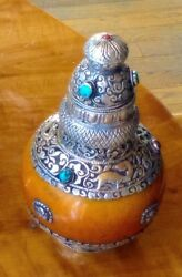 Antique Ink Pot Of Silver And Carnelian From Tibetan Monestary.