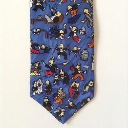 Monopolyand039s Rich Uncle Pennybags Mens Neck Tie 100 Silk Rm Style 1996 Blue