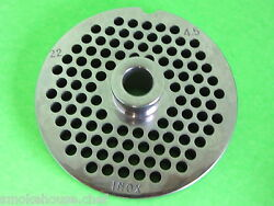 22 X 3/16 Meat Grinder Plate W/ Hub Stainless Fits Hobart Tor-rey Lem And More