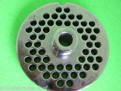 22 X 1/4 Meat Grinder Plate W/ Hub Stainless Fits Hobart Tor-rey Lem And More
