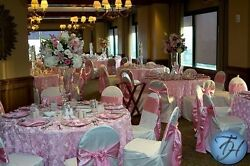 6 Rosette Satin Tablecloths 90 Round 22 Color Ribbon Rose Table Overlay Wedding