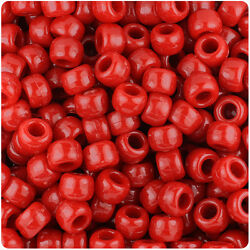 BeadTin Red Opaque 9mm Barrel Pony Beads 500pcs $2.89