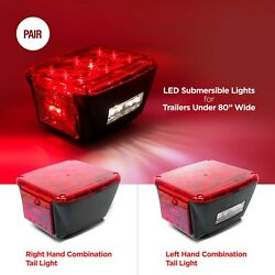 Pair Of Submersible Led Stop Tail Turn Lights For Trailers Under 80 Wide