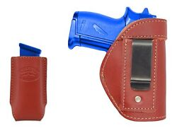 New Barsony Burgundy Leather IWB Holster + Mag Pouch Ruger Kel-Tec Mini 22 380