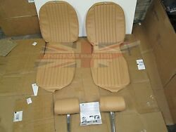 New Seat Covers Upholstery Mgb 1973-80 Made In Uk + Headrests Biscuit