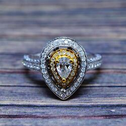 1.24 Ct. Hand Crafted Natural Pear Cut Diamond Two-tone Halo Pave Cocktail Ring