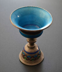 Rare Chinese Qing Dynasty Silver Cloisonne Enamel Oil Lamp