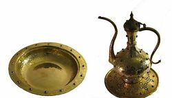 Vintage Hand Made Pitcher And Bowl , Gold Plated, Ottoman Motives And Era 7000