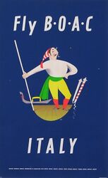 Fly Boac Italy Vintage Advertising Airlines Poster 1950