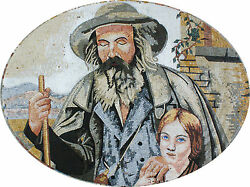 Grandfather With His Grandaughter Portrait Design Figure Marble Mosaic FG846