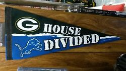 Nfl Detroit Lions / Green Bay Packers House Divided Premium Pennant 12 X 30