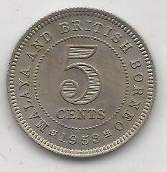 Malaya And British Borneo 1953 5 Cents Copper Nickel Km1 Ch. Uncirculated