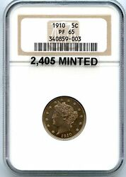 C5729- 1910 Proof Liberty And039vand039 Nickel Ngc Pf65 - 2405 Minted