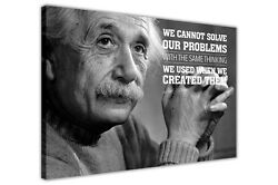 Black And White Albert Einstein Problems Quote Canvas Wall Art Pictures Prints