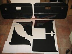 New 7 Piece Interior Panel Set With Door Panels Mgb 1970-80 Black With Chrome