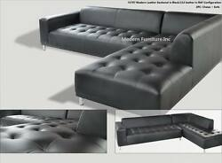 2 Pc Gorgeous Modern Contemporary Black Genuine Leather Sectional Sofa Set 1707