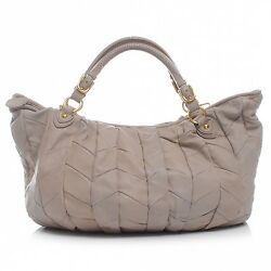 Authenic MIU MIU Nappa Leather Large Patchwork Tote Beige