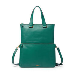 FOSSIL MEMOIR JADE LEATHER FOLDOVER CONVERTIBLE CROSSOVER TOTE BAG HANDBAG $248
