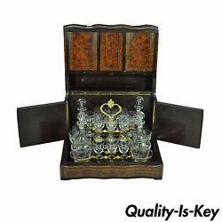 Antique French Brass Boulle Inlaid Tantalus Box And Glass Cordial Decanter Set