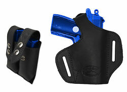 NEW Barsony Black Leather Pancake Gun Holster + Mag Pouch Kel-Tec Mini 22 25 380