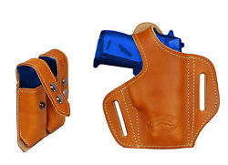 NEW Barsony Tan Leather Pancake Gun Holster + Mag Pouch Kel-Tec Ruger 22 25 380