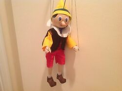 Rare Marionette Wooden Pinocchio With Metal And Wooden Handle