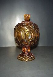 L.e. Smith Star And Moon Amber Glass Covered Candy Dish Four Piece Mold