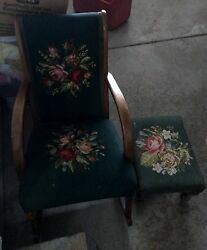Antique Rocking Chair With Stool