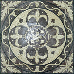 Fleur De Lys Pattern Circle Rounded Rope Natural Colors Marble Mosaic Geo1219