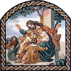 Christianity Jesus Christ Children Gathering All Together Marble Mosaic Fg372